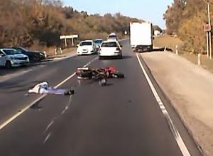 Ужасная смерть мотоциклиста под Новочеркасском попала на видео