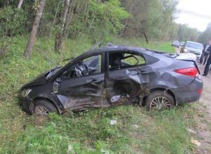 Три человека пострадали в ДТП с перевернувшимся «Хендэ-Соларисом» под Новочеркасском