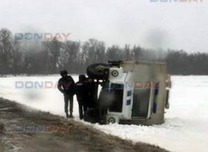Из-за выбежавшей на скользкую трассу собаки, под Новочеркасском перевернулся автозак