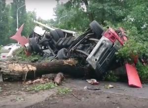 Неуправляемый грузовик с алкоголем снес деревья и перевернулся в Новочеркасске