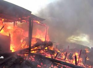 Охваченный огнем сарай под Новочеркасском выгорел дотла