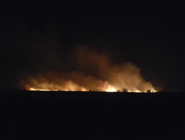 Разбушевавшийся пожар в районе аэропорта около Новочеркасска попал на видео