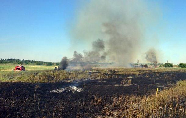 В Новочеркасске четыре пожарных расчета тушили ландшафтный пожар